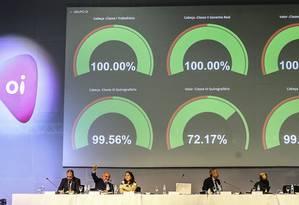Assembleia da Oi. No painel, os percentuais de aprovação de cada grupo credor: recuperação judicial da operadora foi a maior da América Latina em volume de dívida Foto: Divulgação