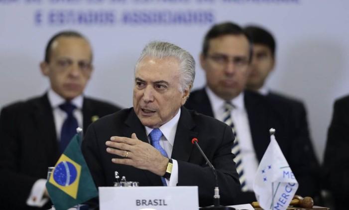 Michel Temer participa da Cúpula de Chefes de Estado do Mercosul Foto: Jorge William / Agência O Globo