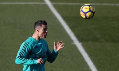 Cristiano Ronaldo durante treino do Real Madrid Foto: SERGIO PEREZ / REUTERS