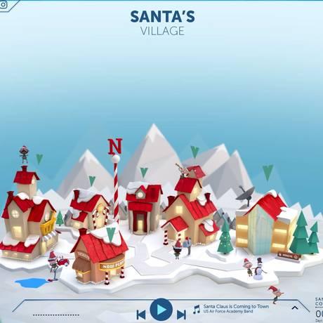 Imagem do site que mostra a rota do Papi Noel pelo mundo Foto: Reprodução
