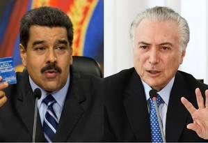 Maduro e Temer: farpas após impeachment Foto: Montagem / AP e AFP