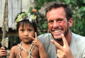Jonatas em foto compartilhada em maio durante viagem; brasileiro está preso na Venezuela Foto: Reprodução / Facebook