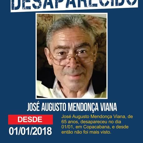 José Augusto Mendonça Viana, de 65 anos, desapareceu após se perder da família durante a celebração do réveillon Foto: Divulgação / Disque-Denúncia