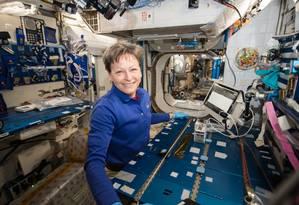 A astronauta Peggy Whitson coletou amostras na Estação Espacial Internacional Foto: NASA
