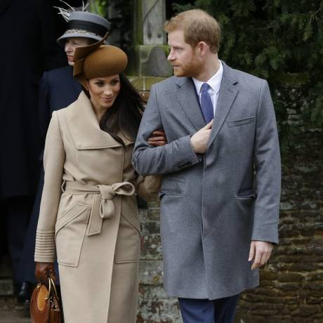 Harry e Meghan Markle no Natal da família real Foto: Alastair Grant / AP