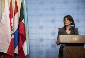 Nikki Haley na ONU: EUA querem reunião sobre o Irã Foto: Drew Angerer / AFP