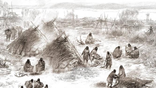Reconstrução do acampamento dos 'Antigos Beríngeos' às margens do Rio Sol, no centro do Alasca Foto: Eric S. Carlson/Ben Potter