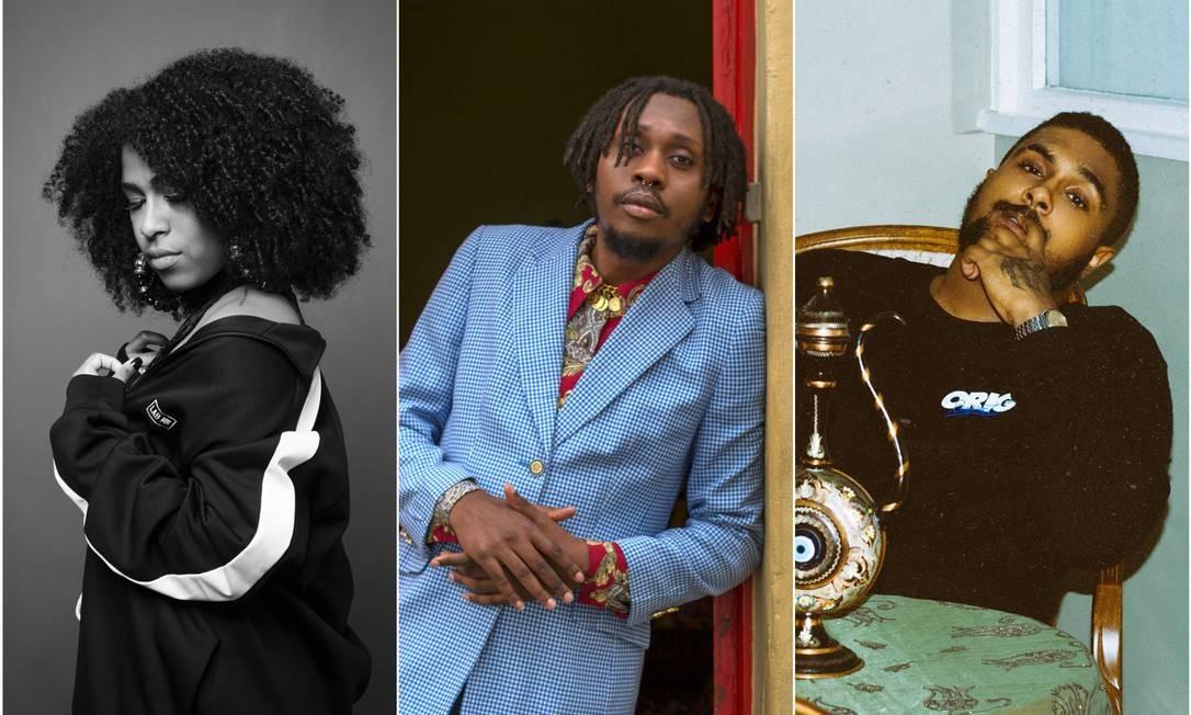 Rappers como Drik Barbosa, Rincon Sapiência e Baco Exu do Blues Foto: Divulgação