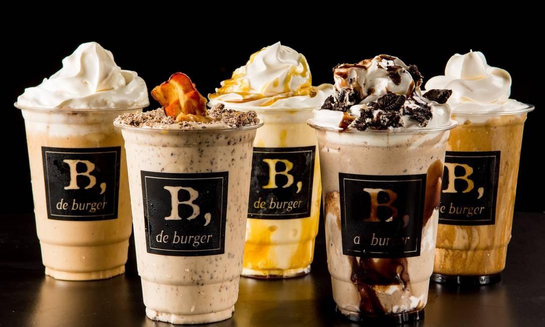 B de Burger: O bacon shake (R$ 23) disputa a preferência dos clientes com os milk-shakes de oreo e de churros (R$ 23, cada). Ipanema: Rua Teixeira de Melo 21 (2523-6098). Barra: Av. das Américas 8.585 (3570-9637). Divulgação/Lipe Borges
