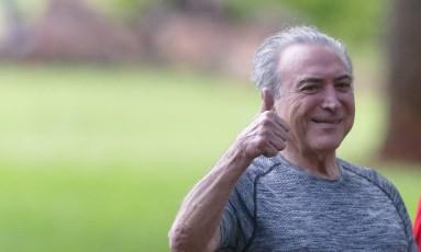 Presidente Michel Temer durante caminhada no Palácio do Jaburu Foto: Ailton de Freitas / Agência O Globo
