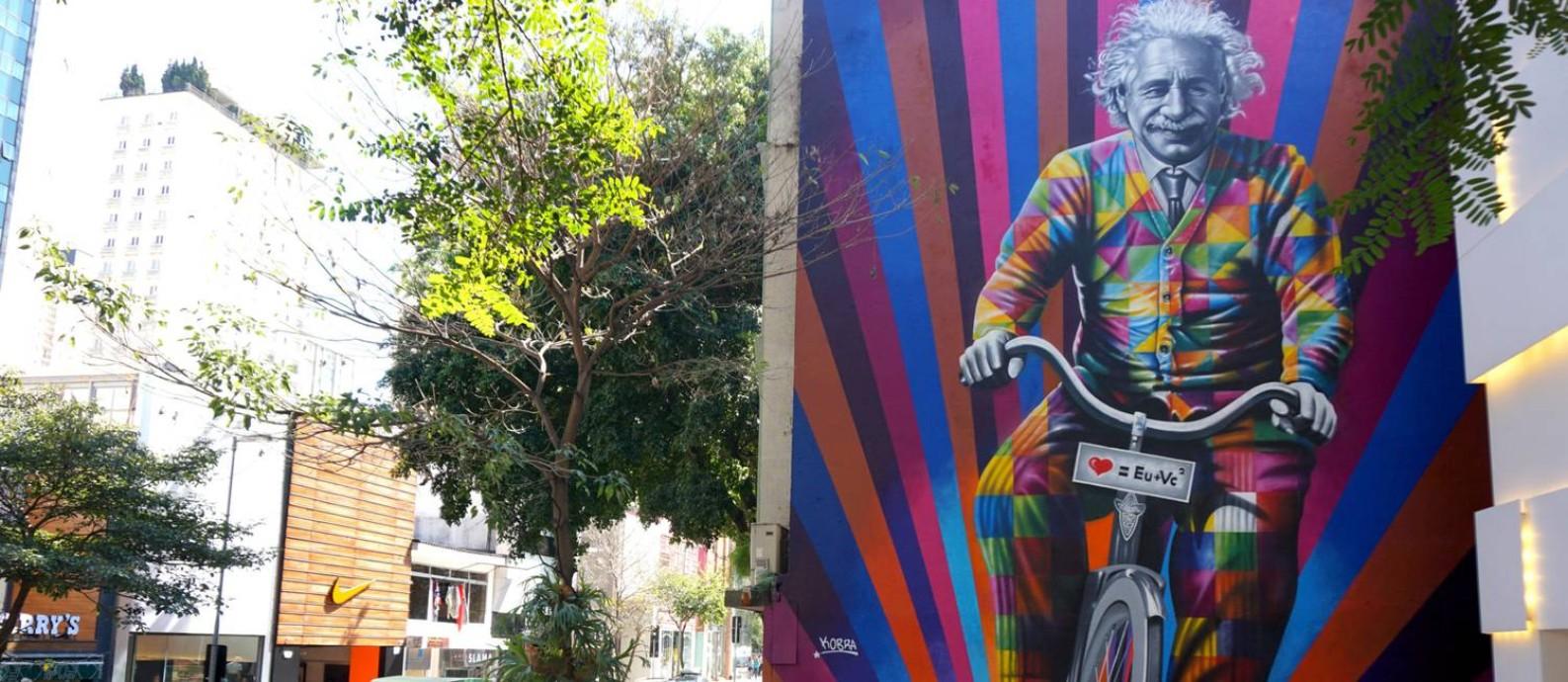 Mural 'Genial é andar de bike': obra foi apagada pela loja proprietária da fachada Foto: Divulgação