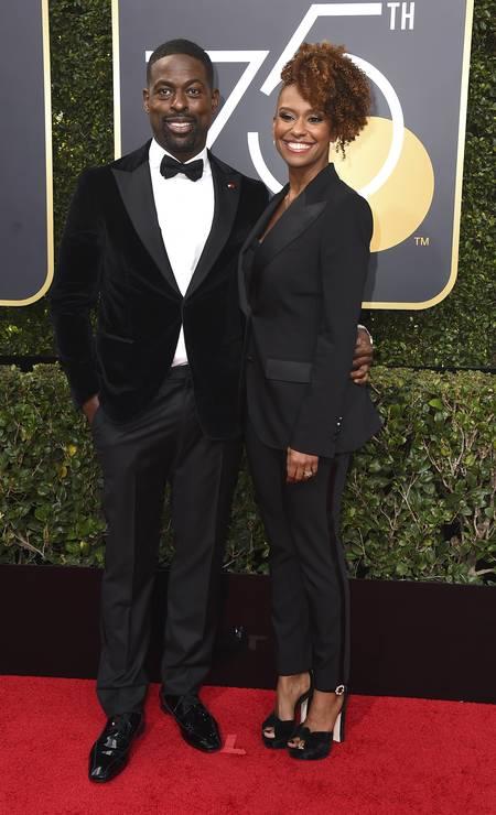 O ator Sterling K. Brown e sua mulher, a atriz Ryan Bathe Foto: Jordan Strauss / Jordan Strauss/Invision/AP