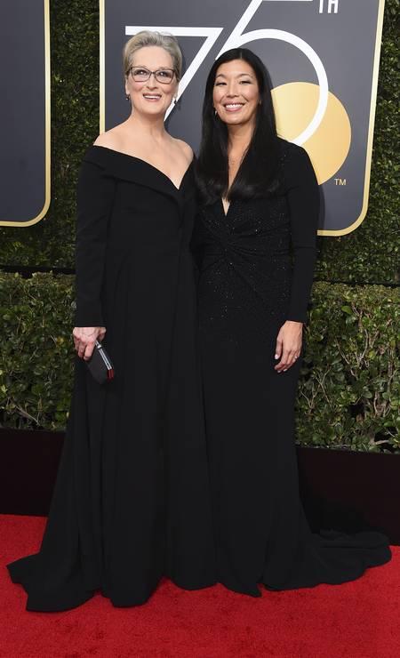 Meryl Streep trouxe como acompanhante a diretora da Aliança Nacional de Trabalhadores Domésticos, Ai-jen Poo Foto: Jordan Strauss / Jordan Strauss/Invision/AP