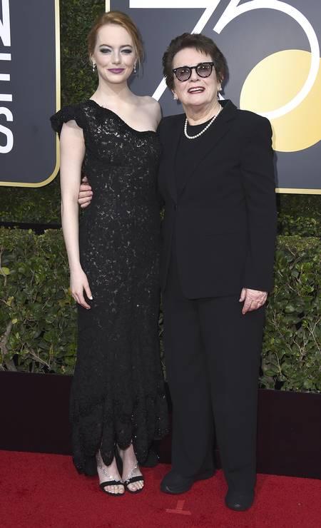 A atriz Emma Stone e a ex-tenista Billie Jean King Foto: Jordan Strauss / Jordan Strauss/Invision/AP