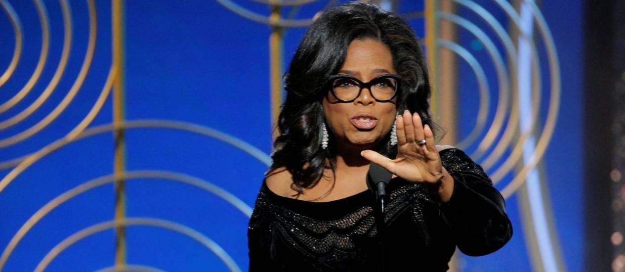 Em seu discurso de aceitação do prêmio Cecil B. DeMille, Oprah Winfrey menciona, entre outras coisas, seu apoio ao trabalho da imprensa Foto: HANDOUT / REUTERS