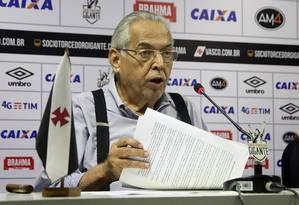 Eurico pede nova eleição no Vasco Foto: Paulo Fernandes/Vasco.com.br