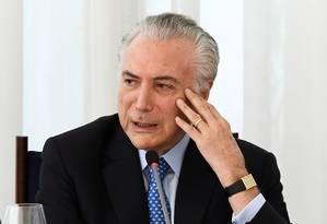Temer, durante evento no Palácio da Alvorada Foto: Evaristo Sá / AFP