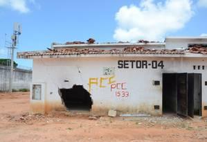 Na Penitenciária de Alcaçuz, pavilhão onde a maioria dos presos morreram há um ano continua destruído Foto: Aura Mazda / Agência O Globo