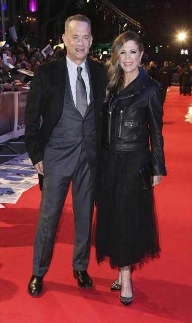 Tom Hanks, que interpreta o editor Ben Bradlee, esteve no evento com a mulher, Rita Wilson Joel C Ryan / Joel C Ryan/Invision/AP