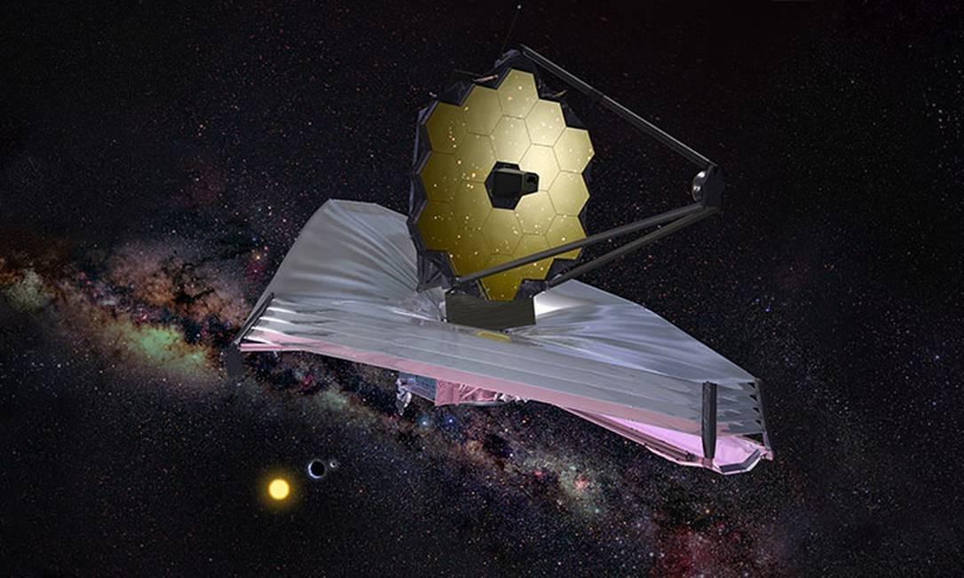 Ilustração da Nasa mostra o telescópio espacial James Webb em operação, com a Terra e o Sol ao fundo Foto: Nasa