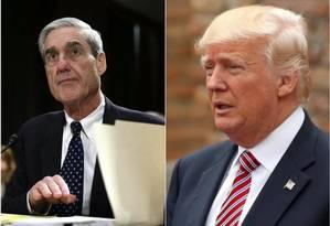 O promotor especial Robert Mueller (esq.) e o presidente americano Donald Trump: investigação apura interferência russa na campanha do republicano Foto: AFP