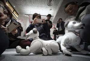 Convidados brincam com cãozinho robô Foto: Eugene Hoshiko / AP