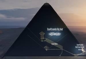 O espaço vazio descoberto tem uma das extremidades próxima do túnel do eixo norte da Grande Pirâmide de Gizé Foto: SCAN PYRAMIDS