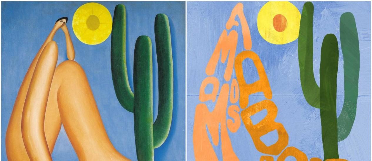 À esquerda, a tela original de Tarsila do Amaral e, à direita, a homenagem do Planalto Foto: Reprodução Twitter
