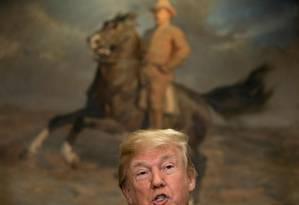 Presidente dos EUA, Donald Trump, fala durante evento na Casa Branca Foto: BRENDAN SMIALOWSKI / AFP