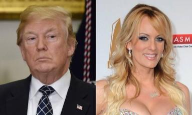 Trump e Stormy Daniels: acusações de silêncio pago Foto: Reprodução