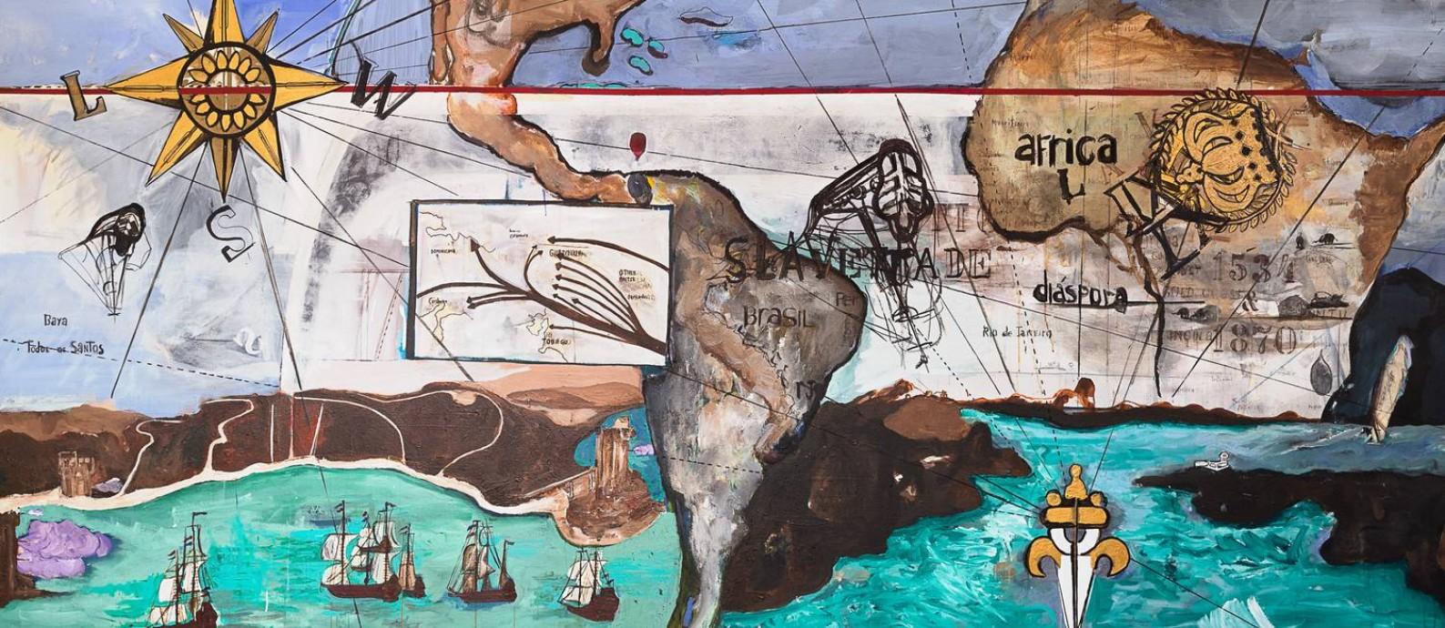 'O triângulo do Atlântico', do brasileiro Arjan Martins, aborda a diáspora africana Foto: Pedro Agilson / Pedro Agilson/Divulgação