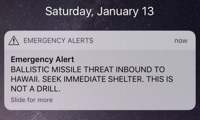 Falso alerta de míssil balístico gera onda de pânico no Havai