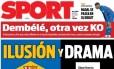 Diário 'Sport' compara o momento do Barcelona com o Real Foto: Reprodução