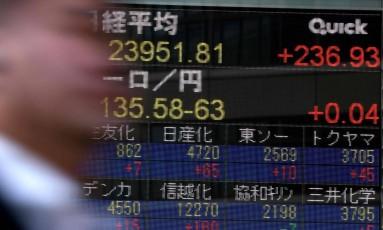 Painel mostra o fechamento da Bolsa de Tóquio. Foto: Toshifumi Kitamura/AFP