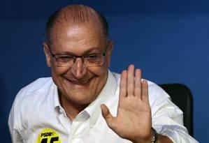 O governador de São Paulo, Geraldo Alckmin, durante convenção do PSDB Foto: Jorge William / Agência O Globo (09-12-2017)