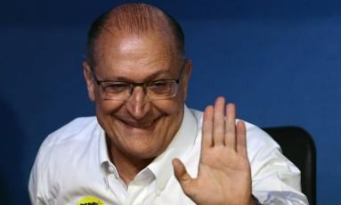 O governador de São Paulo, Geraldo Alckmin, durante convenção do PSDB Foto: Jorge William/Agência O Globo/09-12-2017