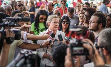A senadora Gleisi Hoffmann, presidente do PT Foto: JEFFERSON BERNARDES / AFP