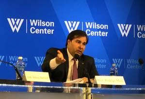 Rodrigo Maia em evento na cidade de Washington Foto: Henrique Gomes Batista / Agência O Globo