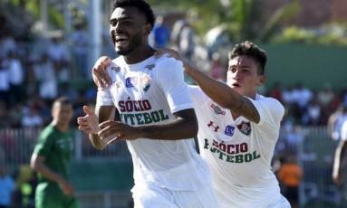 Caio comemora seu gol na derrota do Fluminense para o Boavista Foto: Mailson Santana/Divulgação Fluminense