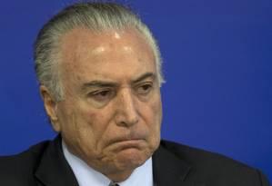 O presidente Michel Temer participa de cerimônia no Palácio do Planalto Foto: Jorge William/Agência O Globo/17-07-2017