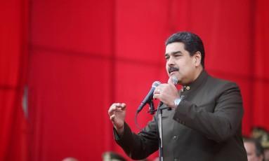 Maduro durante parada militar na Venezuela Foto: HANDOUT / REUTERS