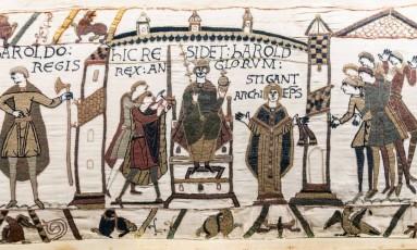 Tapeçaria de Bayeux: tapete bordado do século XI tem 70 metros de comprimento Foto: Wikipedia Commons