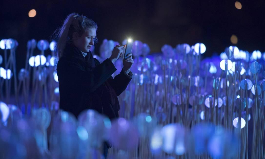 """O festival """"Lumiere"""" atrai a curiosidade de quem passa pelas ruas de Londres: na foto, a obra """"Entre Les Rangs"""", de Rami Bebawi Foto: JUSTIN TALLIS / AFP"""