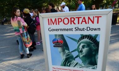 Em 2013, paralisação fez o acesso a parques nacionais ser suspenso, fechando lugares como a Estátua da Liberdade Foto: AFP