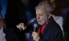 O ex-presidente Lula discursa em evento com artistas e intelectuais em São Paulo Foto: Andre Penner / AP