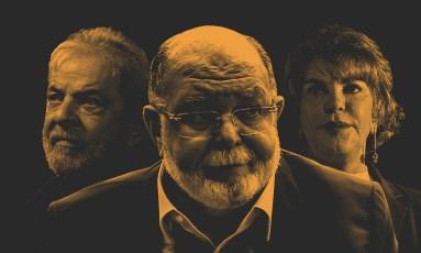 O ex-presidente Luiz Inácio Lula da Silva, o empresário Léo Pinheiro e a ex-primeira-dama Marisa Letícia Foto: Editoria de Arte