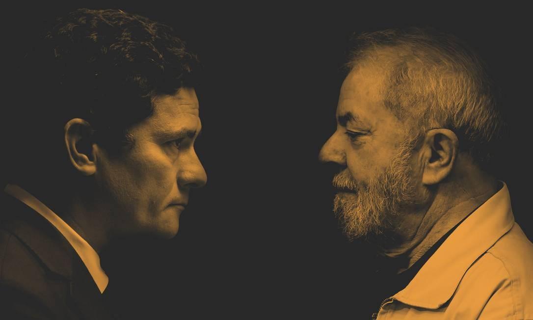 O juiz Sergio Moro e o ex-presidente Luiz Inácio Lula da Silva Foto: Editoria de Arte