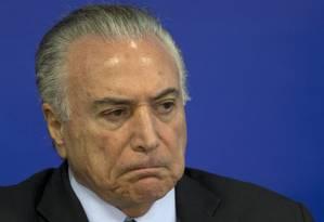 O presidente Michel Temer participa de cerimônia no Palácio do Planalto Foto: Jorge William/Agência O Globo/17-07-2017 / Agência O Globo