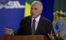O presidente Michel Temer participa de cerimônia no Palácio do Planalto Foto: Jorge William/Agência O Globo/17-01-2018