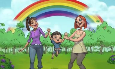 """O """"My Rainbow Family"""" tem entre os personagens um menino com duas mães Foto: My Raibow Family"""